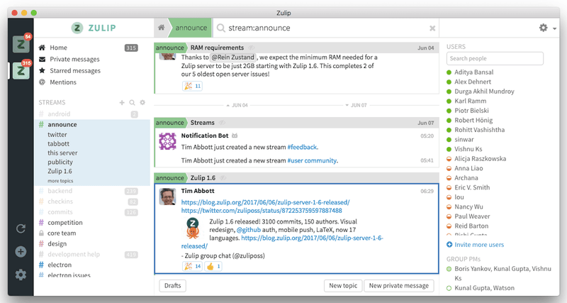 alt = '' Slack app alternative zulip pc overview ''