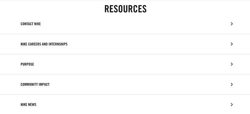 Resources Section of Nike