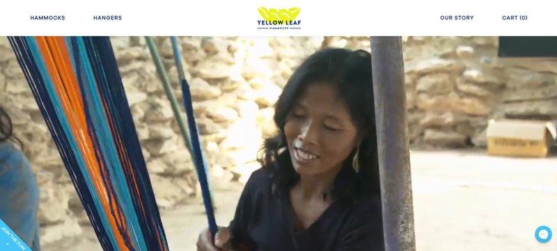 a woman weaving hammock