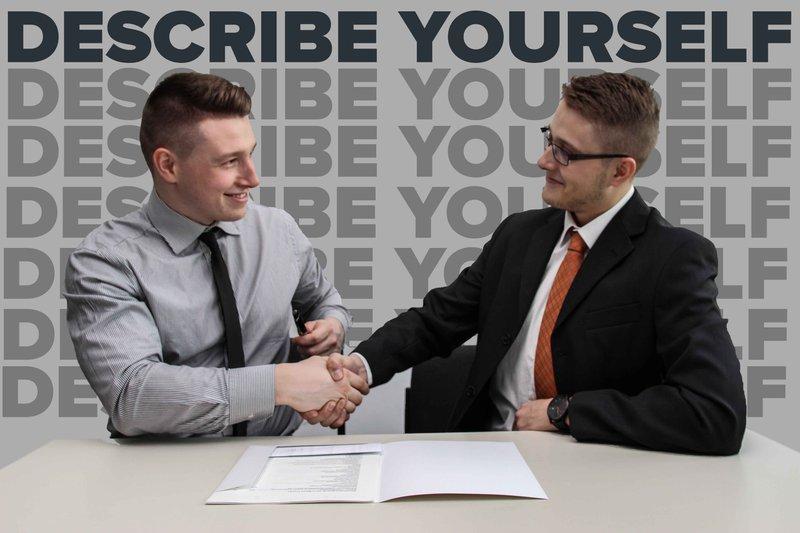 men handshaking describe yourself