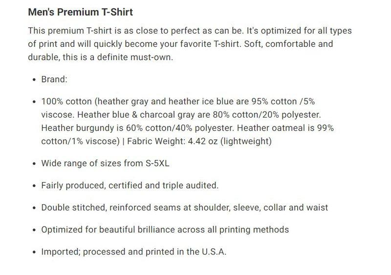 t-shirt product description text