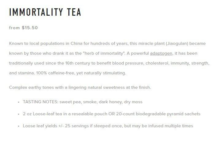 product description of tea