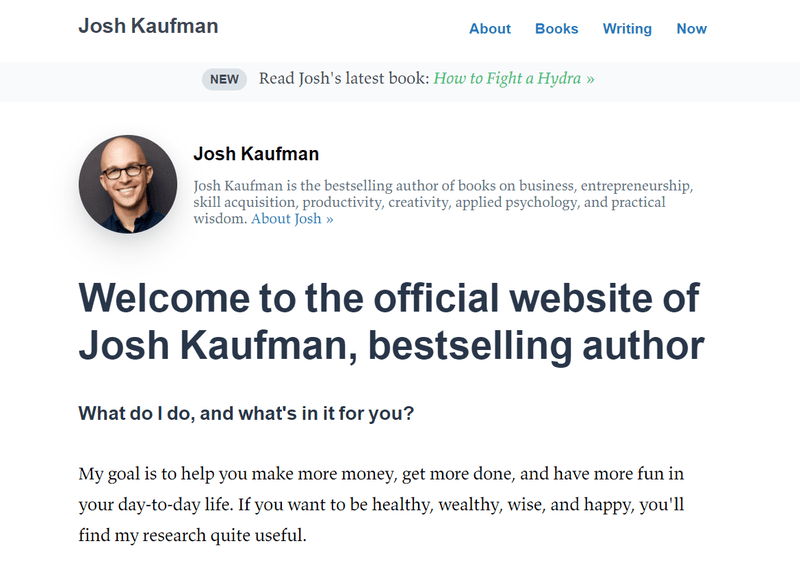 Josh Kaufman - Write a catchy about me page