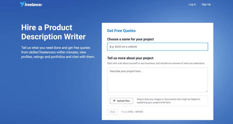 hire a product description writer freelancer